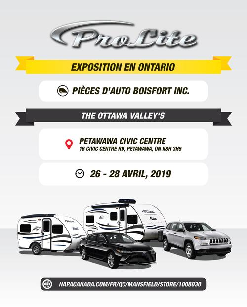 EXPOSITION ROULOTTES PROLITE-ONTARIO - (Petawawa)- Pièces d\'auto Boisfort inc.( 26-28 avril 2019)-ANNULÉE